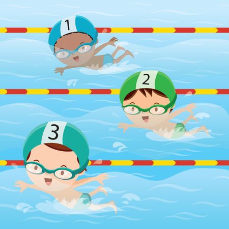 swimming cap: Athletes swimming in the pool Illustration