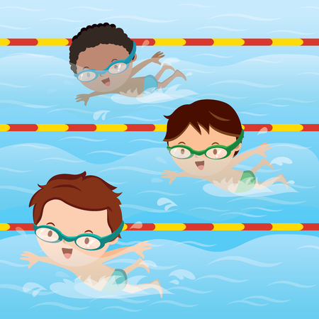 Kids practice swimming in the pool 向量圖像