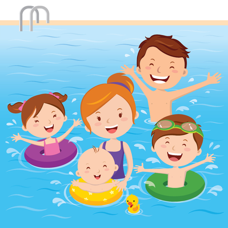 Family having fun in swimming pool Stock Vector - 73777469