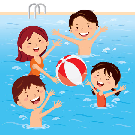 happy family: Family having fun in swimming pool