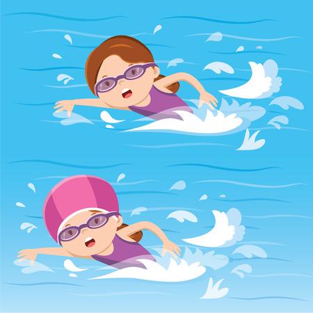 수영장에서 수영하는 소녀