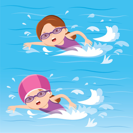 Girl swimming in the pool 向量圖像