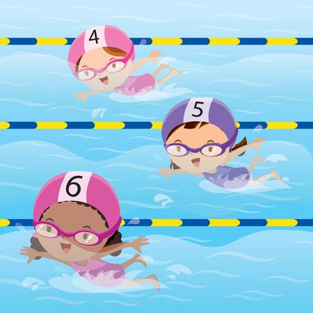 Los atletas que nadan en la piscina