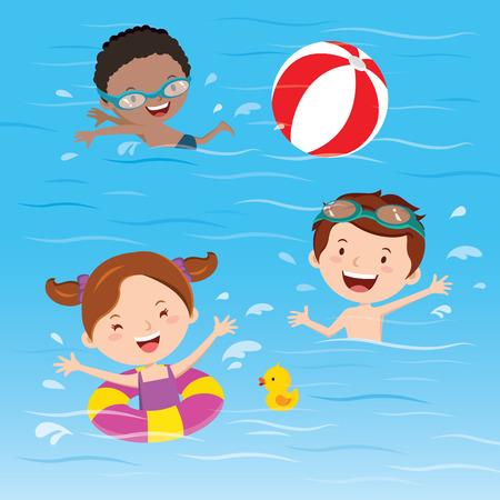 enfant maillot de bain: Les enfants s'amusent dans la piscine