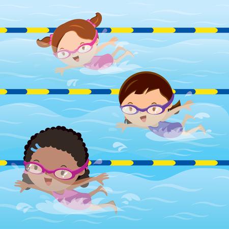 Kids practice swimming in the pool Vettoriali