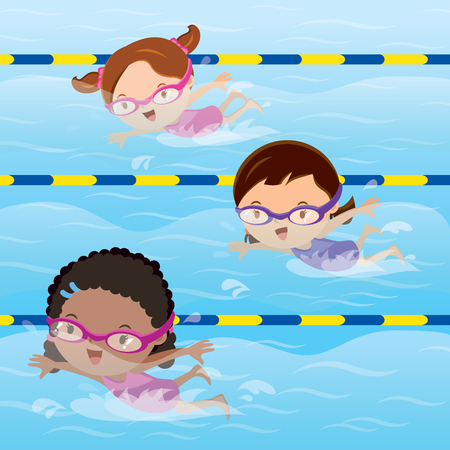 Kids practice swimming in the pool Vectores