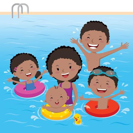 maillot de bain: En s'amusant en famille en piscine
