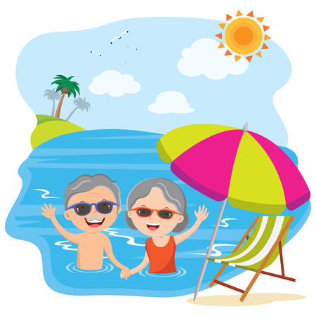 Elderly couple have fun in the water
