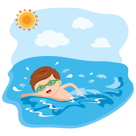 Boy swimming 向量圖像
