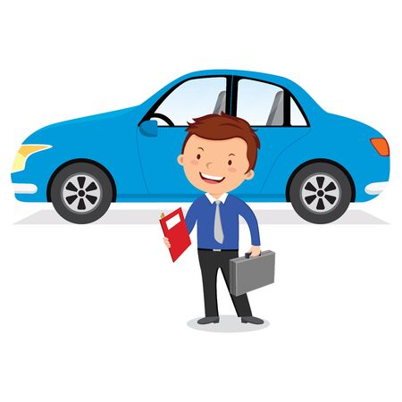 Businessman and his car. Vector illustration of a man standing near a car.
