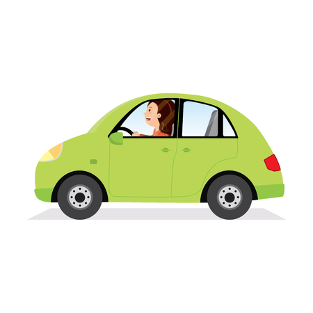 Businesswoman driving her car. Vector illustration of a young woman driving a car. Vettoriali