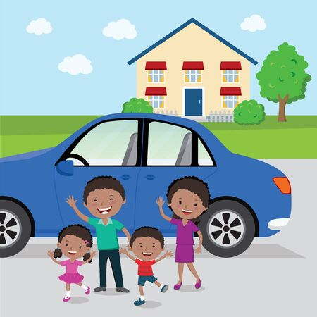 Cheerful family with their apartment and car. Vector illustration of family with their blue car. Illustration