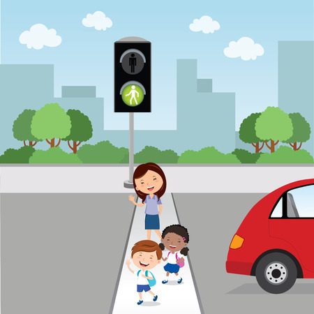 Crossing the road. Green light. Teacher and school kids crossing the road.  イラスト・ベクター素材