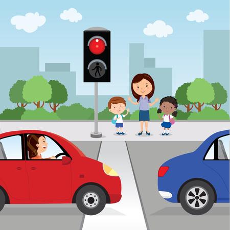De straat oversteken. Rood licht. Leraar en schoolkinderen stoppen en wachten om de weg over te steken.