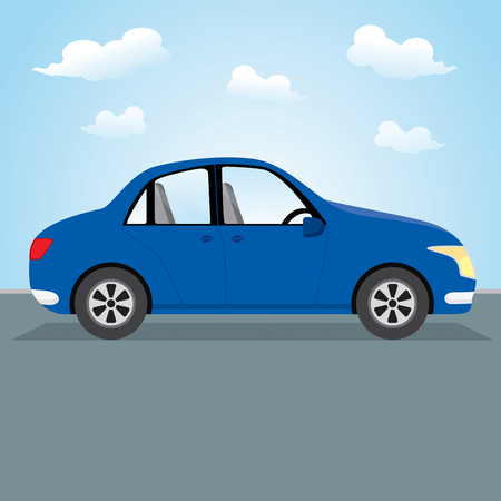 Family car. Vector illustration of a blue car parking on the road. Illustration