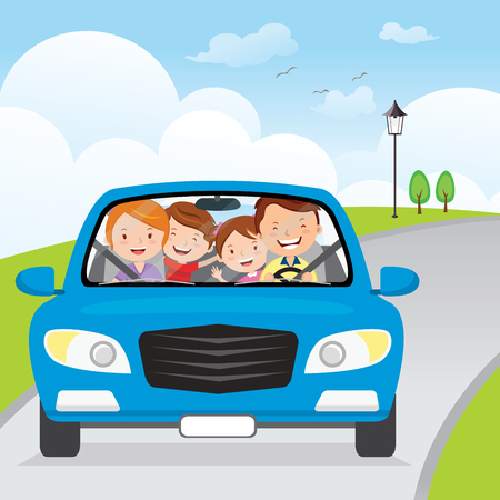 Family driving in car on holiday. Cheerful family traveling in the blue car on the road. Vettoriali