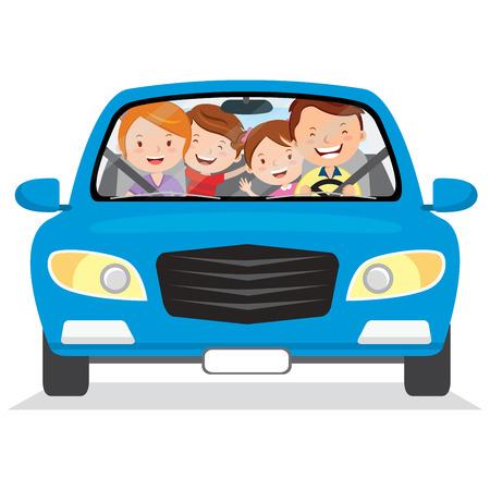 Glückliche Familie im Auto. Vector Illustration der Familie mit den Kindern, die in ein blaues Auto fahren. Isoliert.