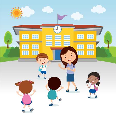 Happy kids go to school. Cheerful teacher gesturing to the school kids in front of the school building.