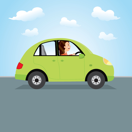 Woman driving green car. Happy young woman driving a car. Illustration