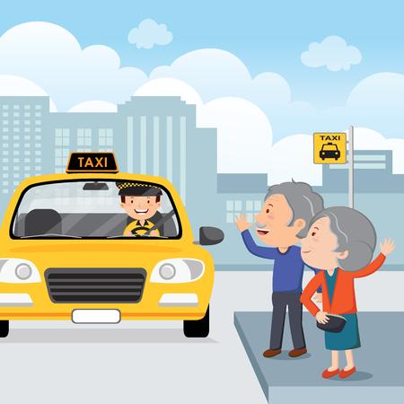 Ilustración vectorial de una pareja de ancianos saludando a un taxi Foto de archivo - 77464391