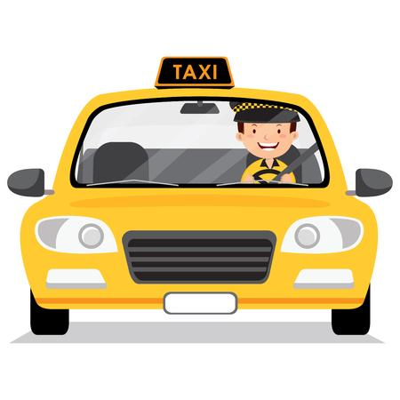 Żółty samochód taksówek i taksówkarz Ilustracje wektorowe