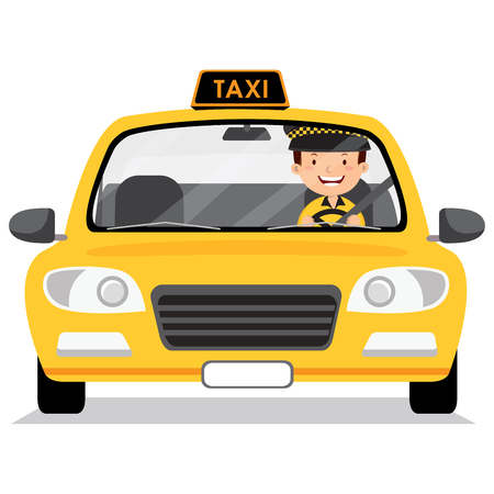 Yellow taxi car and taxi driver Фото со стока - 77464389