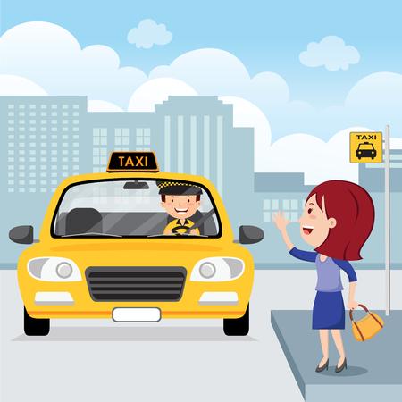 Mujer joven levantando su brazo para llamar a un taxi Ilustración de vector