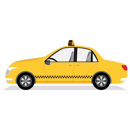 fare: Yellow taxi car isolated on white. Vector illustration. Illustration