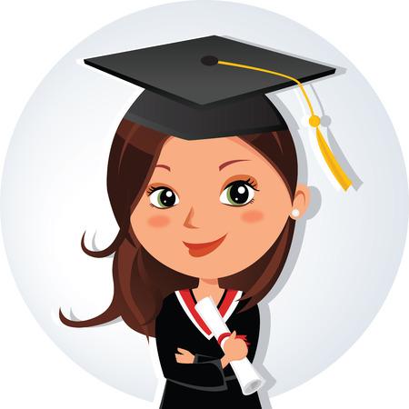 Beautiful graduation girl. Young beauty graduate woman smiling with certificate.