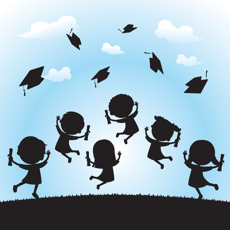 Celebrate graduation silhouette. School kids jumping for joy and tossing their graduation caps in the air. Vettoriali