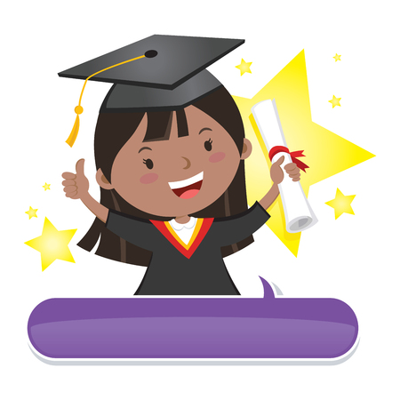 test results: Happy graduate girl. Vector illustration of a star graduate girl with thumb up. Illustration