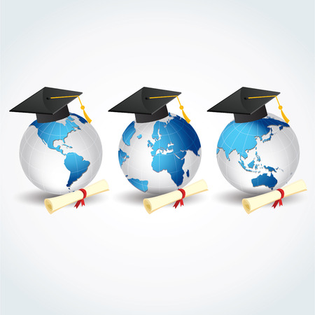 Globes with graduation caps and certificates. Foreign education, foreign students. Stock Vector - 77470536