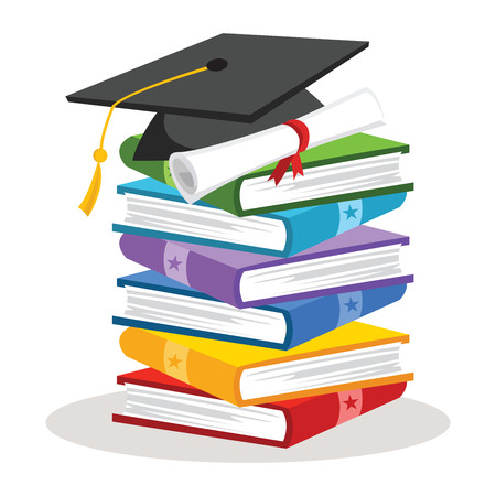 Graduation cap with books and certificate. Education. Illustration