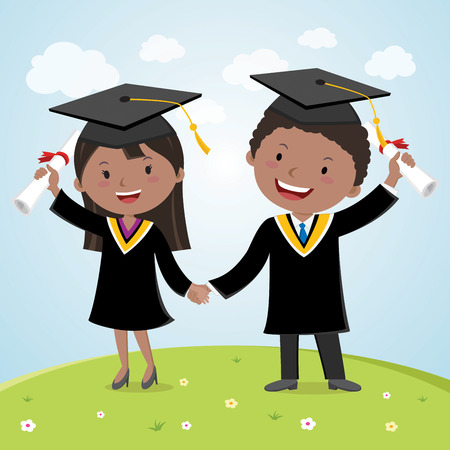 Graduation couple. Happy young graduated couple holding hands with certificates.