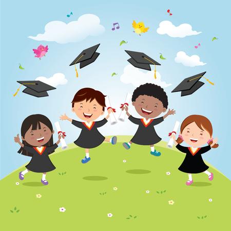 卒業の喜びとお祝いの子供たち。多様性の学校の子供の喜びのためにジャンプと空中での卒業の帽子を投げします。