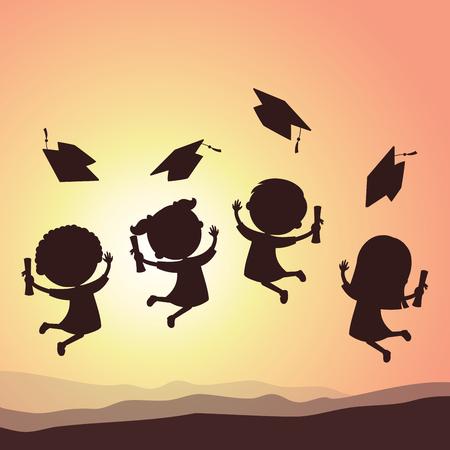卒業子供たちのシルエット。学校の子供の喜びのためにジャンプと空中での卒業の帽子を投げします。