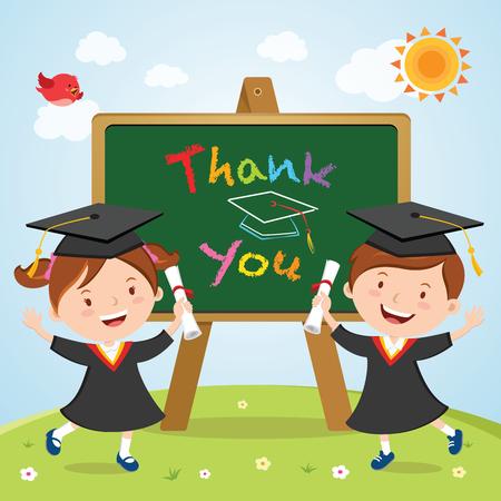 Graduation kids with board Illustration