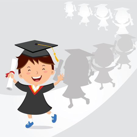 Happy boy graduation march. Vector illustration of a little boy marches during the school graduation ceremony.