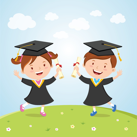 Happy graduated kids. Little children jumping for joy to celebrate their kindergarten graduation day.