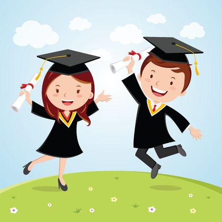 Happy graduated students. Cheerful young graduated students jumping for joy.