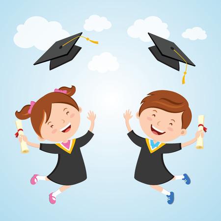 행복한 졸업식 날. 작은 아이 기쁨을 위해 점프 하 고 그들의 졸업 모자 대 공중에 던져. 일러스트