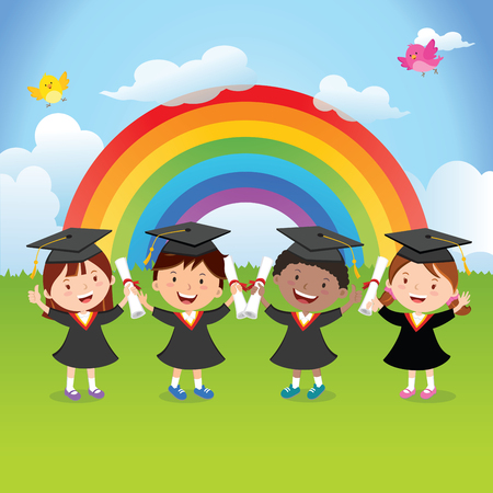 Happy graduation kids with rainbow