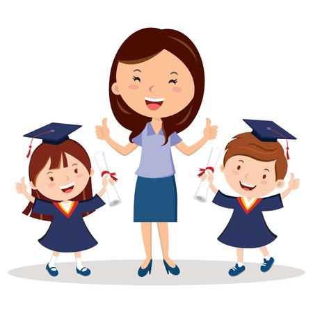Teacher and graduation kids 일러스트