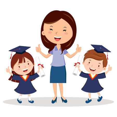 Teacher and graduation kids Illustration