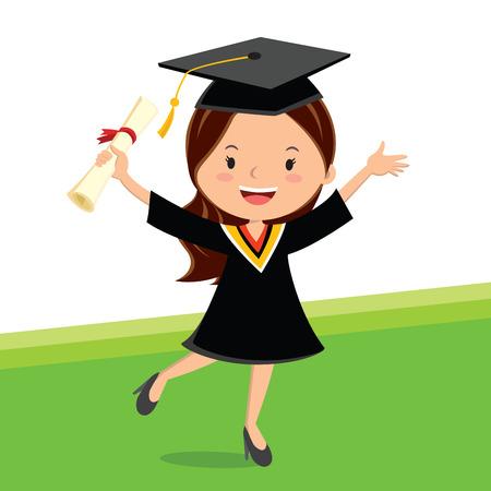 Joven mujer graduada de belleza. Un certificado joven de la explotación agrícola de la niña con la sonrisa alegre. Ilustración de vector