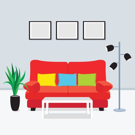 penthouse: living room interior vector