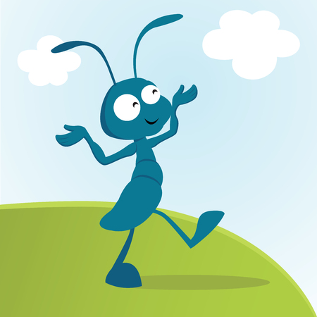 Ant. Vector illustration of an happy ant.