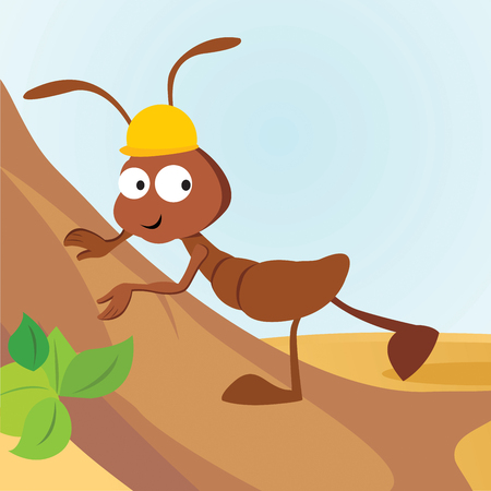 Working ant. Vector illustration.