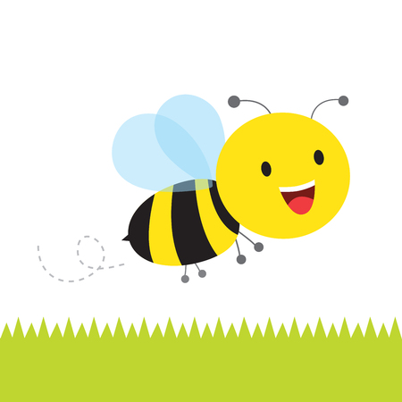Happy bee. Cute busy bumble bee flying.