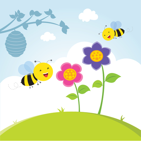 Happy bee flying. Honey bee flying to the flower collecting nectar. Illustration
